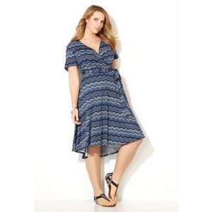 Avenue Geo Chevron Hi Lo Wrap Dress, Plus 26/28